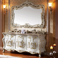 WTS-806JO Royal Antique White Mirror type Bathroom Cabinet with gold leaf decoration