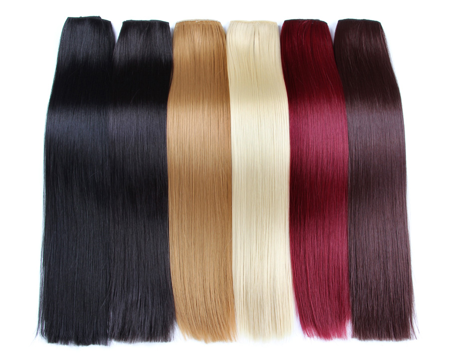 AliLeader Cheap Price 26 Colors Silky Straight Hairpiece Ponytail Synthetic Clip In Hair Extensions