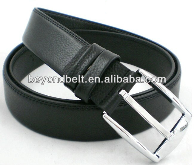 Beyond Office Men's 38mm Wide Imported Black Top Layer Genuine Leather Belt with Shiny Pin Buckle