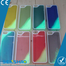 Wholesale - Luminous Liquid water case ABS and PC protect cover case Noctilucent quicksand case for iphone5