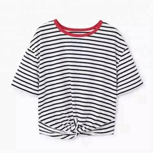 round neck bottom knot custom t shirt women