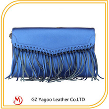 Plain leather women envelope clutch bag / women evening bags with tassels