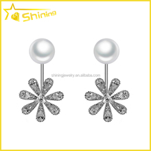 wholesale women aaa cubic zirconia pearl earrings 925 sterling silver