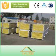 Easy to install and low price rock wool sandwich panel