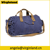 High Quality Navy Blue Canvas Unisex Duffel Bag Travel Weekender Bag