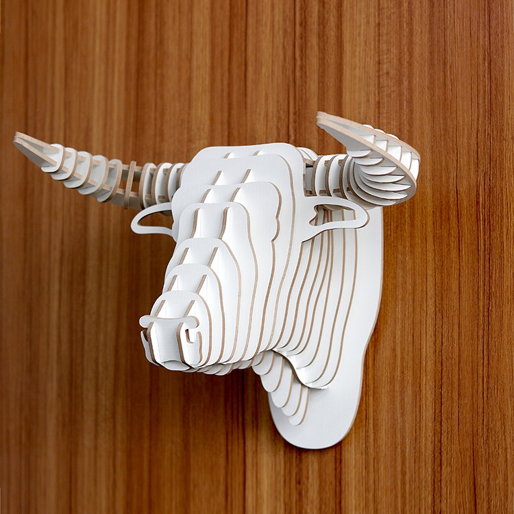 DIY 3d animal art wall mounted wood decorative cow head