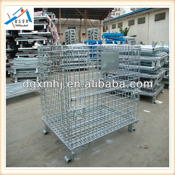 Galvanized Steel Folding Rolling Metal Storage Cage,Warehouse Cage