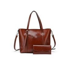 Women's Handbag Genuine Leather Tote Shoulder Bags Wallet and Handbag 2 Piece Set Genuine Bag