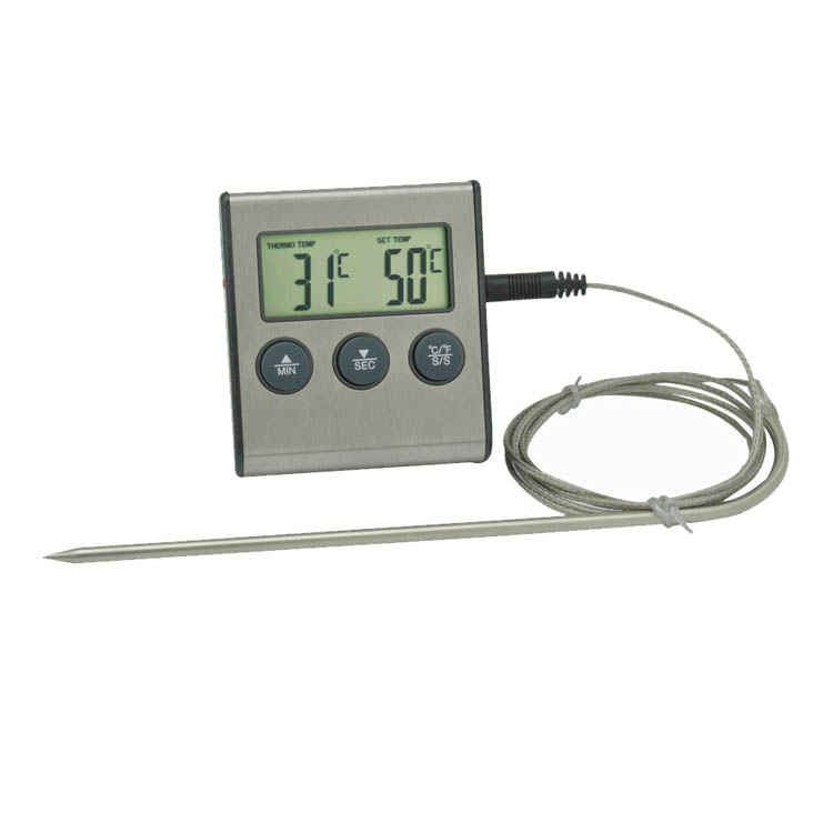Household Digital LCD Kitchen Cooking Food/Water Thermometer With Probe&Timer+For Microwave Oven,Meat BBQ/Barbecue/Grill/Roast