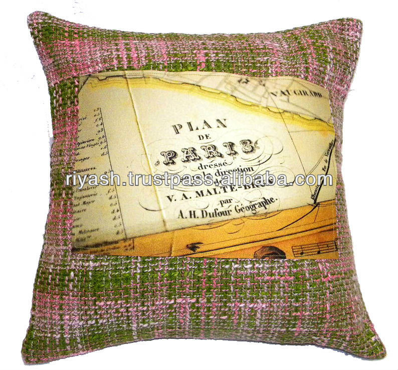 Paris Theme Woolen Fabric Cushion Cover - 45 Cm.Sq.