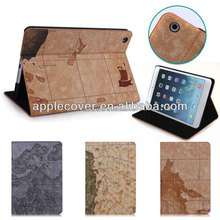 Premium Map Printing Leather Case For iPad Mini 1 2 3 with Stand , for iPad Mini cover case , leather case for tablet