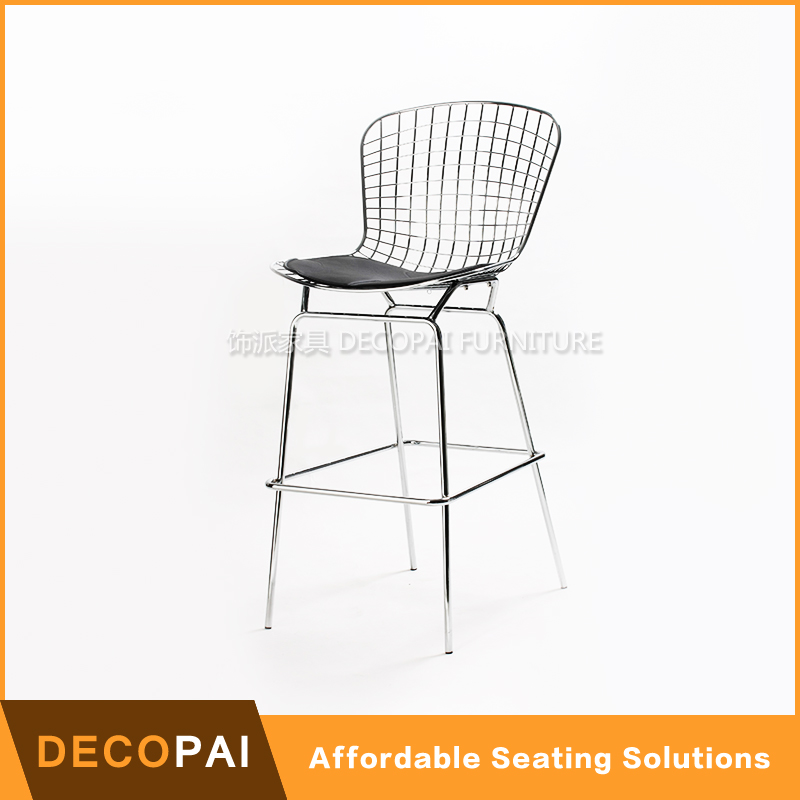 Chrome Metal 36 Inch Wire Counter Pu Seat Barstool Buy