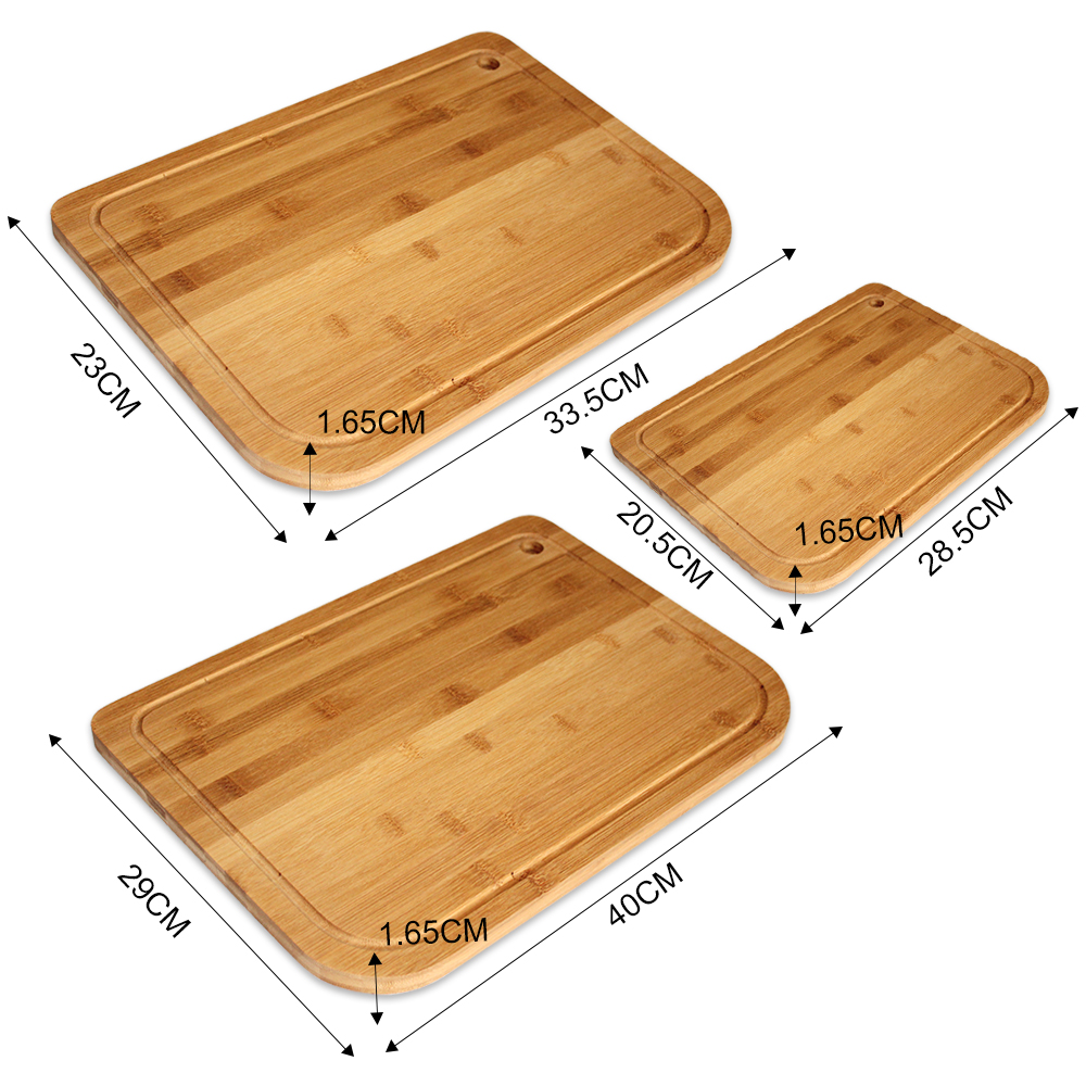 100% Natural 3-Piece Set Bamboo Chopping Cutting Board with Thumb Hole and Rounded Edge