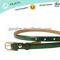 green snake skin belt mens 30 32 leather ultra slim brass buckle