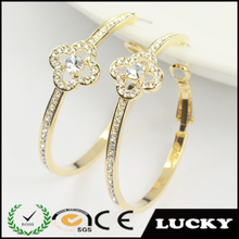 new gold plated pave crystal beautiful earring designs for women