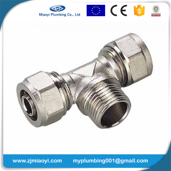 Brass Compression Fittings for Pex-Al-Pex Pipes - Male Tee