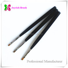 Synthetic hair flat hair shape brass ferrule wooden gel art nail brush wholesale