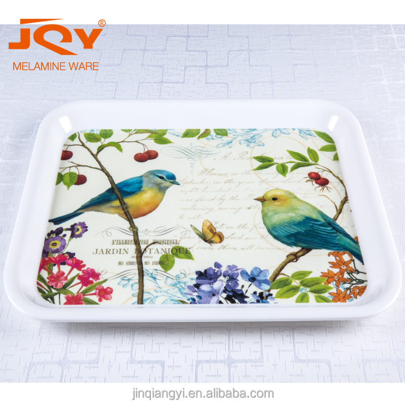 Melamine rectangular serving tray with printing OEM accepted