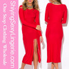 wholesale latest design sexy slit long sleeve red evening dress