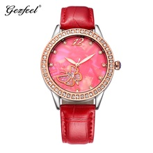 Factory Wholesale Promotion fashion Wrist watch women Luxury Butterfly Crystal leather strap lady watch with japan PC21s movt