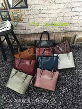 2016 good quality genuine leather bags waxy vintage leather handbags women shoulder bag shopping bags