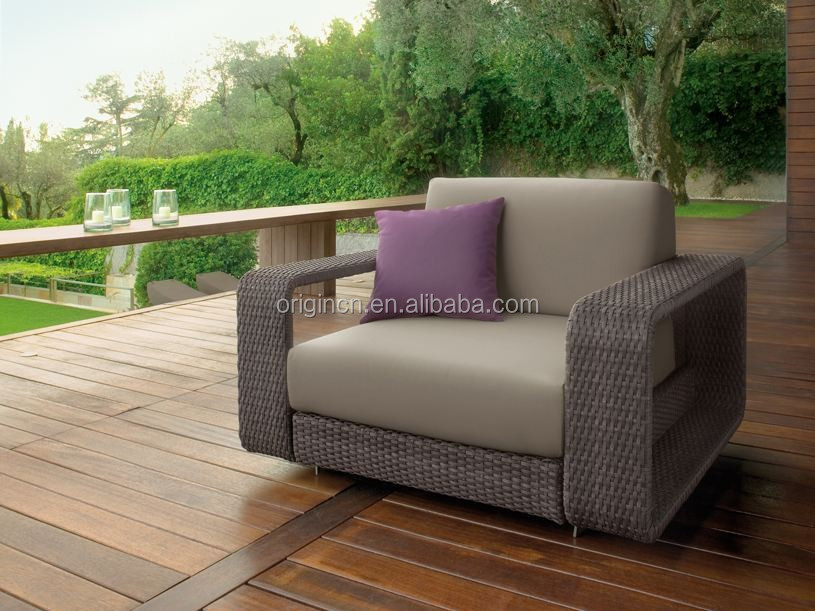 Modern style living room or balcony used single arm sofa rattan molded outdoor plastic furniture