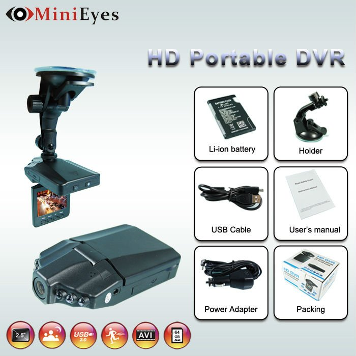 Night Vision 6pcs IR LEDs Motion detection hd 720P 2.5 inch LCD car accident recording camera (CL-073DV)