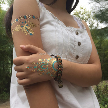 Waterproof Temporary Jewelry Tattoo Metalllic Turquoise Gold Flash Tattoo