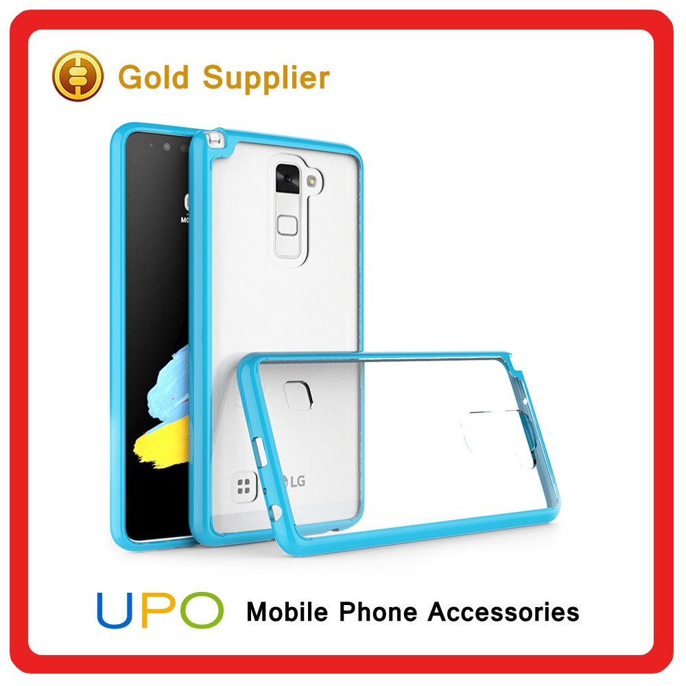 [UPO] Candy Color Ultra Thin Clear Crystal Phone Case for lg stylus 2 Hard Acrylic Back Cover TPU Bumper