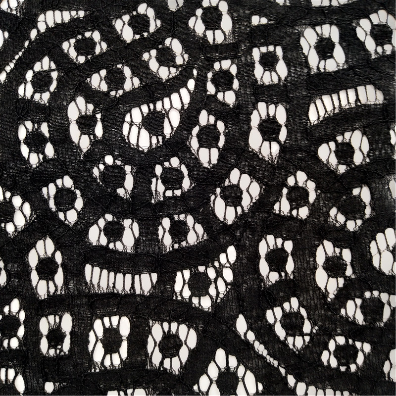 150*150cm nylon cotton black eyelash lace fabric