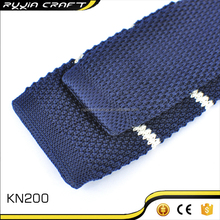 Navy Blue Striped Mens'Knitted Necktie From China Supplier