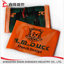 OEM factory of heat transfer end fold woven labels for shoes