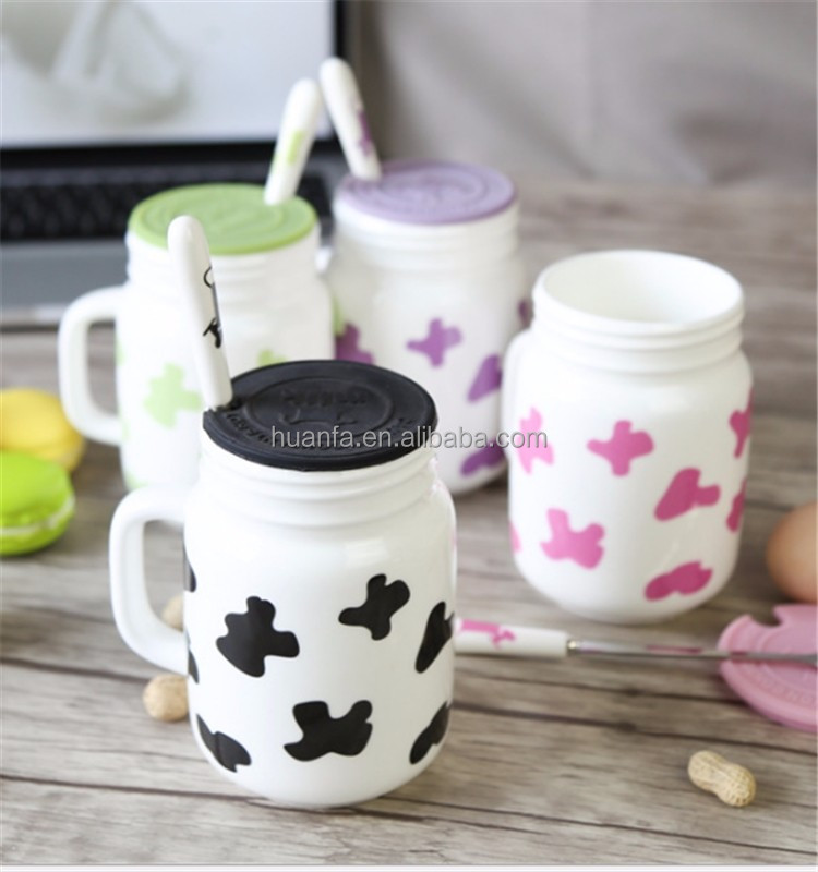 Promotional Items Multicolored Ceramic Mason Jar Mug Porcelain Customized Coffee <strong>Cup</strong> With Silicone Lid