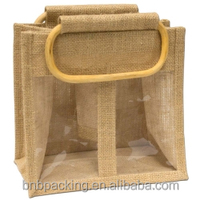 Jute Bottle Bags Wholesale Low Price Burlap Wine Packageing Carry Bags With Cane Handles