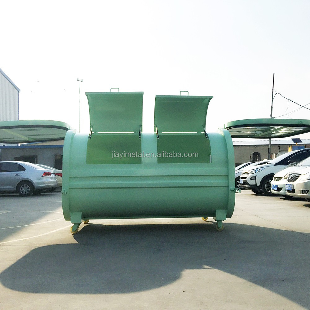 Large horizontal metal 1000-2000 liter corrosion resistant dustbin dumpster with wheels