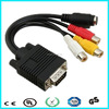 Vedio audio cable vga to red white yellow female rca cable