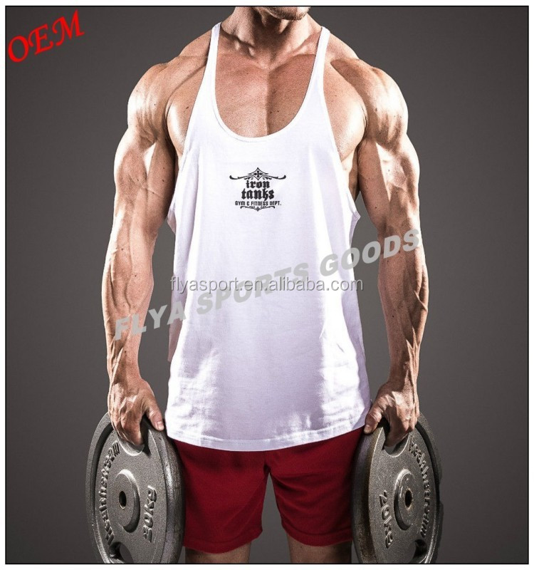 high quality wholesale custom printed stringer gym vests for men