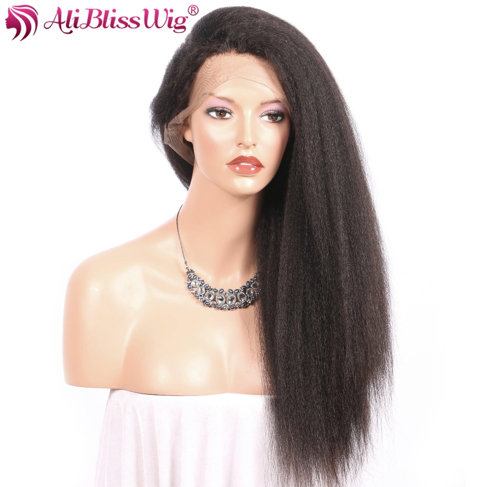 Brazilian Virgin Hair Italian Yaki Wig Pre Plucked Hairline Glueless Kinky Straight Human Hair Full Lace Wig with Baby Hair