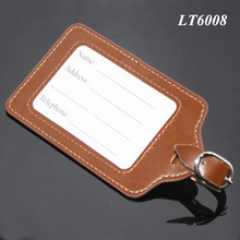 Travel Luggage Label Straps Suitcase Name ID Address Tags Bulk Square Shaped Brown Leather Color Luggage Tag Leather