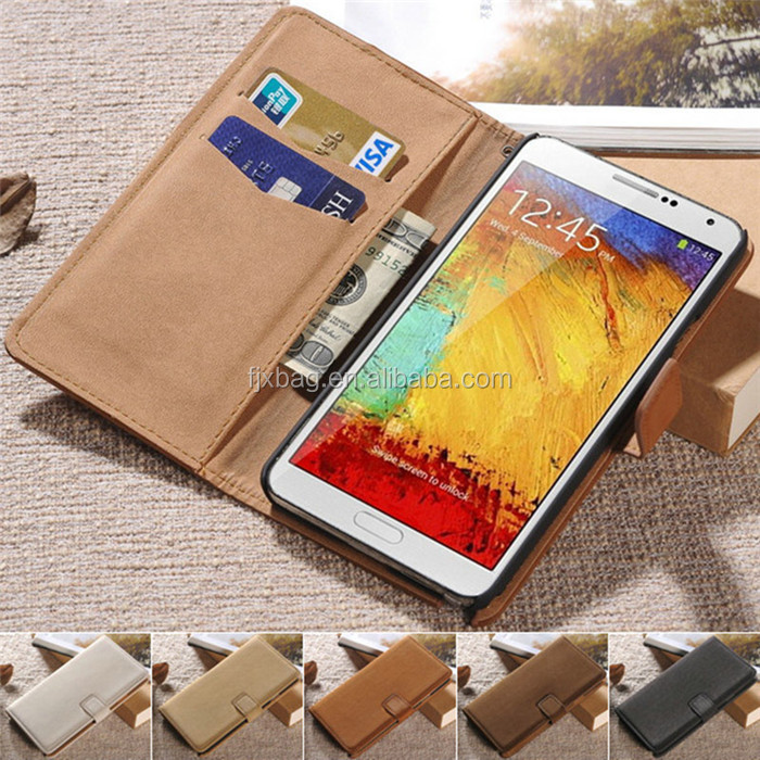 Luxury Top Quality leather flip wallet stand case for samsung galaxy note 3