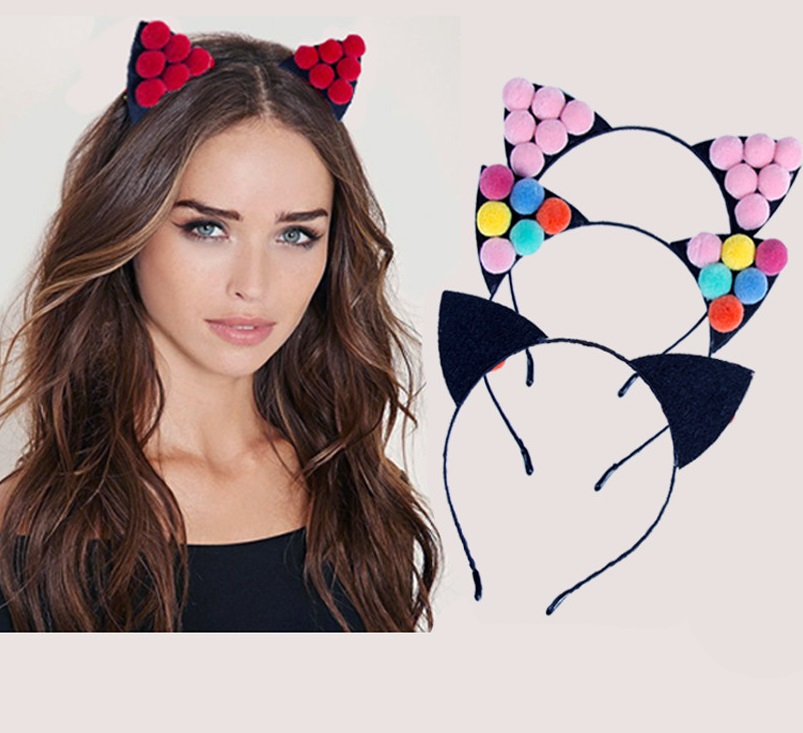 1 PC Headwear Women Ears Hair Accessories Lovely Girls Fur Ball Cat Ears Hair Hoop 2017 New Halloween Party Headband
