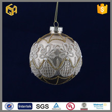 Factory price beautiful glass ball with lace fabric ornaments,unusual christmas gifts