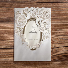 New design white paper Chinese laser cut wedding invitation card