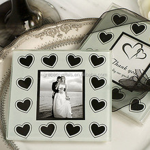 Wedding favors photo frame coaster picture inserted glass tea coaster set