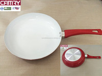 aluminum white ceramic coating frying pan with silicone handle
