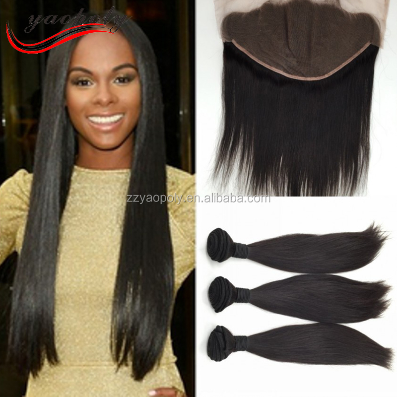 Top Indian <strong>Hair</strong> Straight With Closure Ear to Ear 13X6 Lace Frontal Closure With Bundles