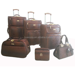 pu leather brown crocodile Suitcase Rolling Luggage Tote Bag Set