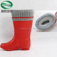 Warming High Heel Red Rubber Women Rain Boots with Gray Knitting