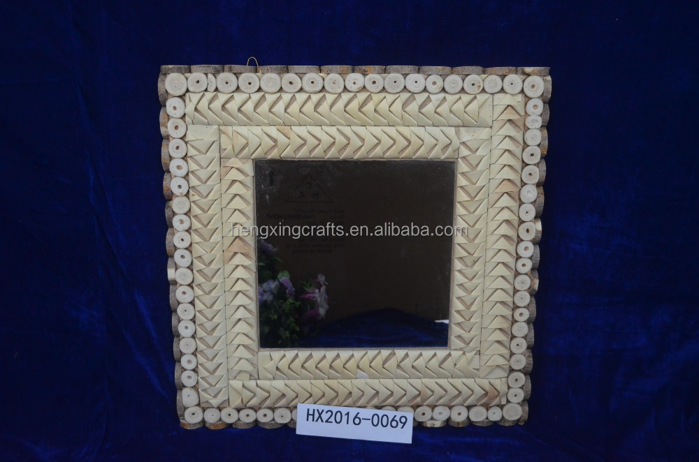 Square Dressing Mirror Crafts Wooden Bathroom Mirror