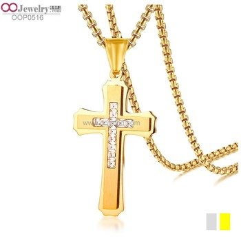 shiny crystal inlaid unique cross pendant rolo necklace